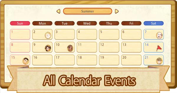 All Calendar Events List